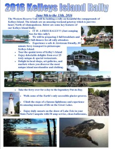 Flyer for 2016 Kelleys Island Rally